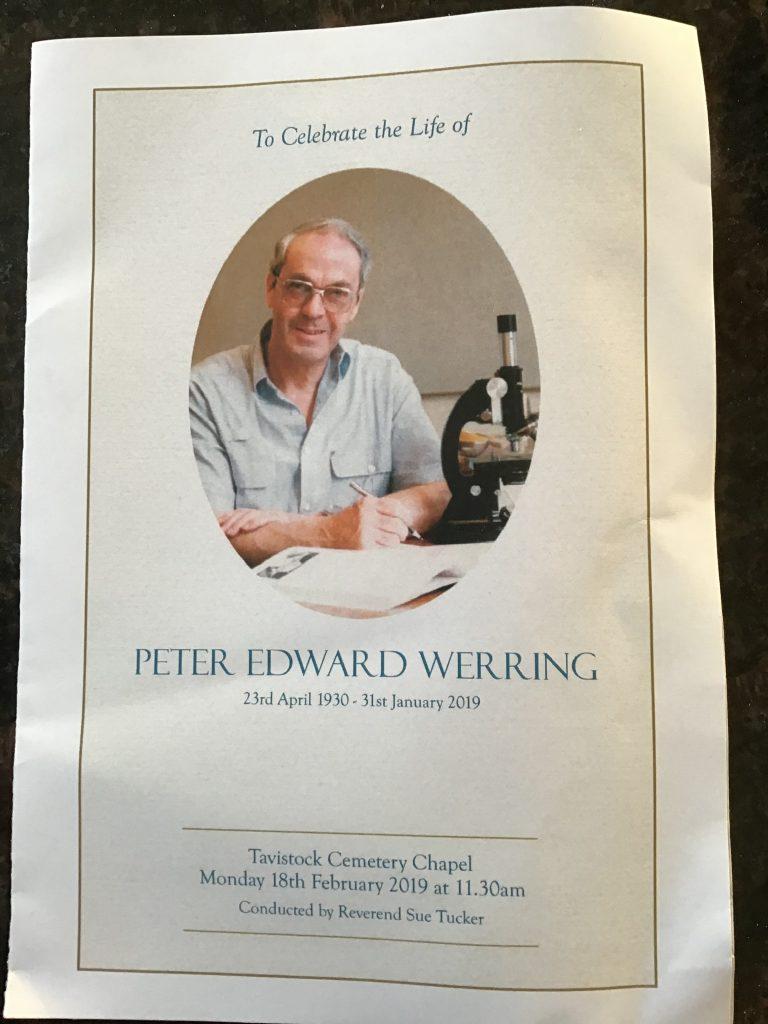 Peter Edward Werring RIP Kynaston School Teacher